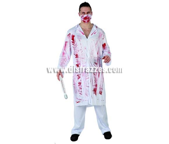 Disfraz de Médico loco sangriento para hombre. Talla 2 ó talla standar M-L 52/54. Termómetro NO incluido. Incluye pantalón, camisa y mascarilla.