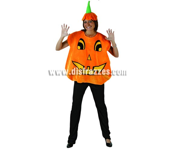 Disfraz de Calabaza mujer para Halloween. Talla standar M-L = 38/42. Incluye camisa y gorro.