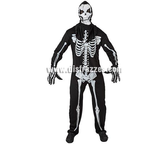 Disfraz de Esqueleto viviente adulto para Halloween. Talla S = 48/52 para chicos delgados y adolescentes. Incluye mono, guantes y máscara.