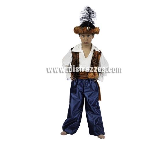 Disfraz de Tuareg Aladín Deluxe para niño. Alta calidad, hecho en España. Disponible en varias tallas. Incluye camisa con chaleco, pantalón, fajín y turbante.