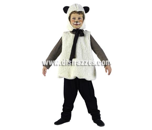 Disfraz de Ovejita Deluxe para niños. Alta calidd, hecho en España. Disponible en varias tallas. Incluye vestido y gorro. Pantalón NO incluido.