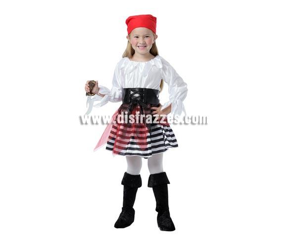 Disfraz barato de niña Pirata para Carnaval. Talla de 3 a 4 años. Incluye pañuelo, vestido y cinturón. Puñal NO incluido, podrás verlo en la sección de Accesorios.