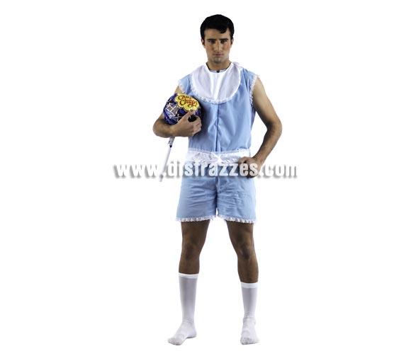 Disfraz de Baby Nene Deluxe para hombre. Alta calidad, hecho en España. Disponible en varias tallas. Incluye mono y babero. Chupa-chups NO incluido.