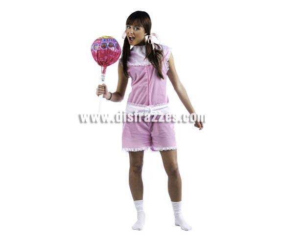 Disfraz de Baby Nena Deluxe para mujer. Alta calidad, hecho en España. Disponible en varias tallas. Incluye mono y babero. Chupa-chups NO incluido.