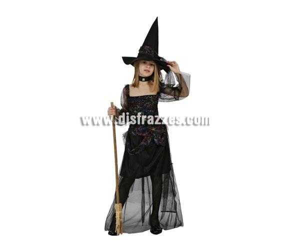 Disfraz de Bruja o Brujita telaraña para niña. Talla de 7 a 9 años. Incluye vestido y sombrero. Escoba NO incluida, podrás verla en la sección de Complementos.