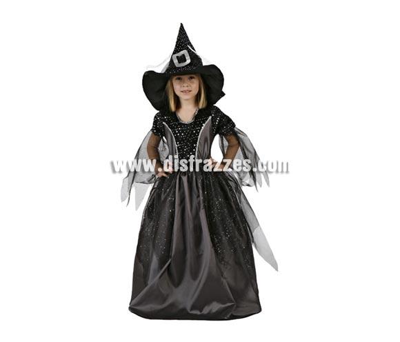 Disfraz de Bruja negro para niña. Talla de 5 a 6 años. Incluye vestido y sombrero.