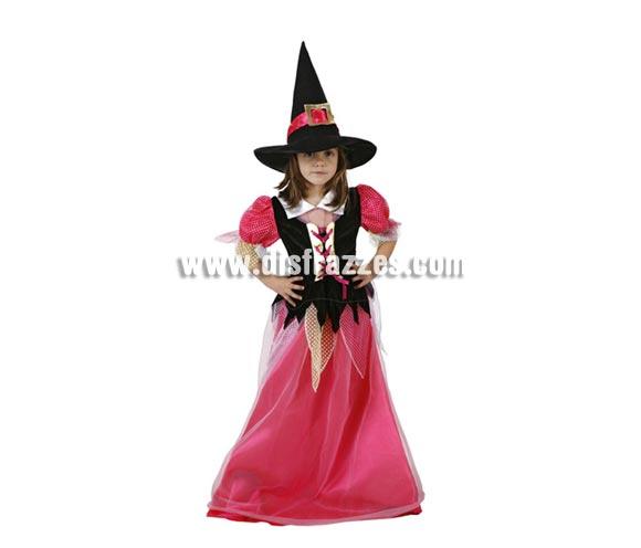 Disfraz de Brujita o Bruja rosa para niñas. Talla de 5 a 6 años. Incluye vestido y sombrero.
