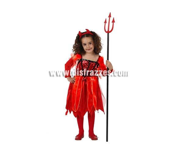 Disfraz de Demonia o Diablesa de lujo para niña. Talla de 5 a 6 años. Incluye vestido, cubrebrazos y diadema. Tridente NO incluido, podrás verlo en la sección de Complementos.