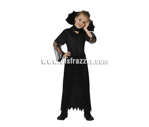 Disfraz de Viuda Negra para niña. Talla de 5 a 6 años. Incluye vestido y cuello.