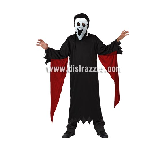 Disfraz de Fantasma Scream para niño. Talla de 5 a 6 años. Incluye túnica y máscara.