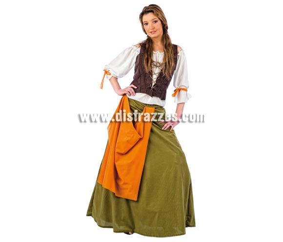 Disfraz de Tabernera Medieval Agnes Deluxe para mujer. Alta calidad, hecho en España. Disponible en varias tallas. Incluye camisa, corpiño y falda.