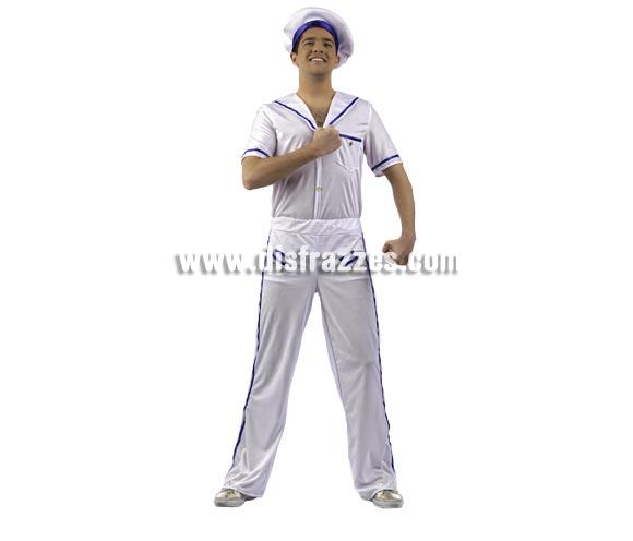 Disfraz de Marinero Deluxe para hombre. Alta calidad, hecho en España. Disponible en varias tallas. Incluye camisa, pantalón y gorro.