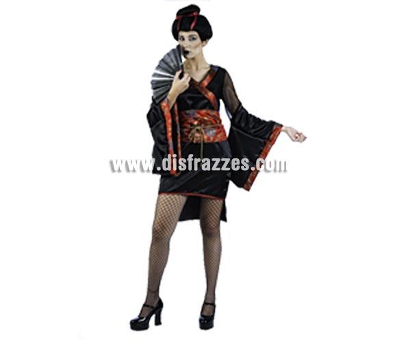 Disfraz de Geisha Aiko Deluxe para mujer. Alta calidad, hecho en España. Disponible en varias tallas. Incluye kimono y fajín. Peluca y abanico NO incluido, podrás encontrar en nuestra sección de Complementos.