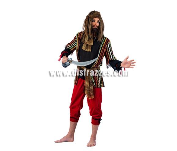Disfraz de Pirata Malvado Deluxe para hombre. Alta calidad, hecho en España. Disponible en varias tallas. Incluye camisa, pantalón, fajín y pañuelo. Espada No incluida, podrás encontrar en nuestra sección de Complementos.