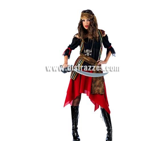 Disfraz de Pirata Malvada Deluxe para mujer. Alta calidad, hecho en España. Disponible en varias tallas. Inlcuye camisa, falda, fajín y pañuelo. Espada NO incluida, podrás encontrar en nuestra sección de Complementos.