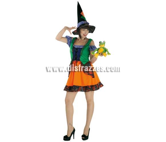 Disfraz de Bruja Colorines para mujer. Talla única de mujer. Incluye falda, camisa, chaleco y sombrero.