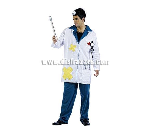 Disfraz de Médico Deluxe para hombre. Alta calidad, hecho en España. Disponible en varias tallas. Incluye chaqueta, pantalón y gorro. Termómetro NO incluido.