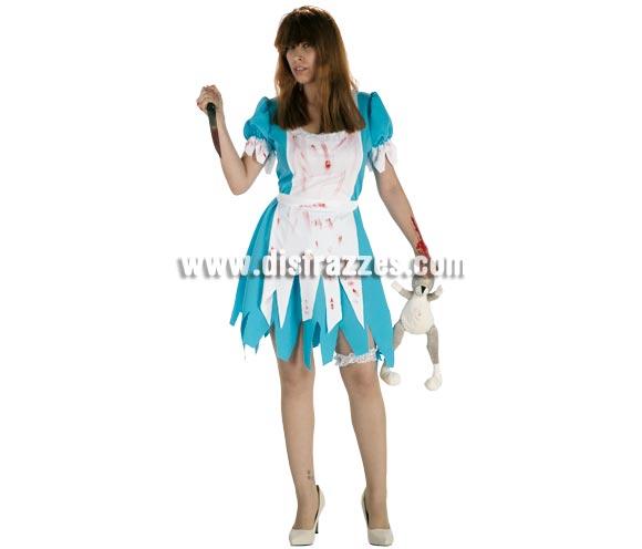 Disfraz barato de Alicia Asesina para mujer. Talla única de mujer. Incluye vestido, delantal y liga. Disfraz muy original para la noche de Halloween.