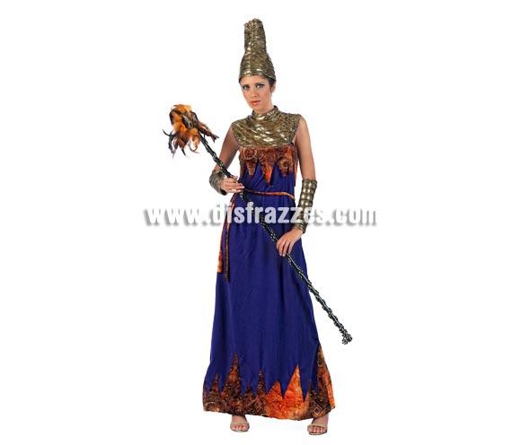 Disfraz de Reina de África Deluxe para mujer. Alta calidad, hecho en España. Disponible en varias tallas. Incluye vestido, puños y gorro. Bastón con plumas NO incluido.