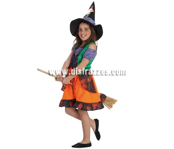Disfraz de Bruja Colorines para niñas de 8 a 10 años. Incluye falda, camisa, chaleco y sombrero. Escoba NO incluida, podrás verla en la sección de Complementos.