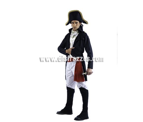 Disfraz de Napoleón Deluxe para hombre. Alta calidad, hecho en España. Disponible en varias tallas. Incluye chaqueta, pantalón, fajín, pañuelo, botas y sombrero. Catalejo NO incluido, podrás encontrar en nuestra sección de Complementos.