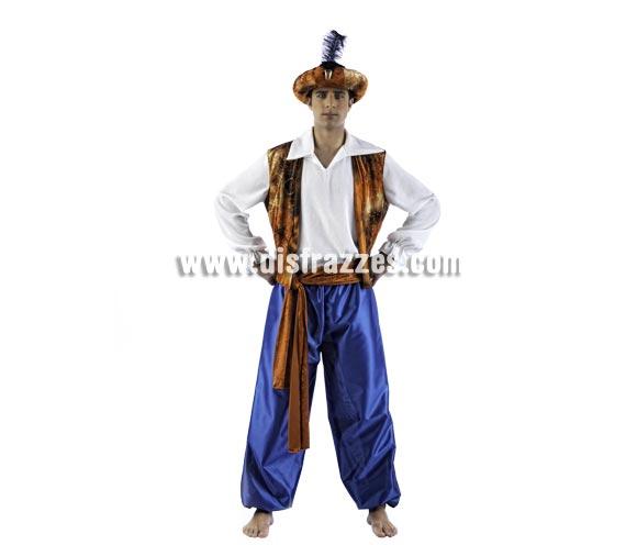 Disfraz de Tuareg Aladín Deluxe para hombre. Alta calidad, hecho en España. Disponible en varias tallas. Incluye chaleco, pantalón, fajín y gorro.