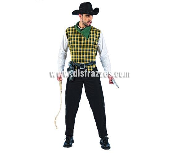 Disfraz de Vaquero Deluxe para hombre. Alta calidad, hecho en España. Disponible en varias tallas. Incluye camisa, pantalón y pañuelo. Revolvera con pistolas, sombrero y cuerda NO incluidos, podrás encontrar en nuestra sección de Complementos. Éste disfraz hace pareja con la ref. MA617LI.