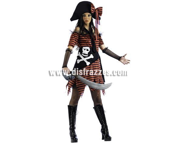 Disfraz de Pirata Corbata Deluxe para mujer. Alta calidad, hecho en España. Disponible en varias tallas. Incluye vestido con pañuelo, corbata y gorro. Espada NO incluida, podrás encontrar en nuestra sección de Complementos. Éste disfraz hace pareja con la ref. MA159LI.
