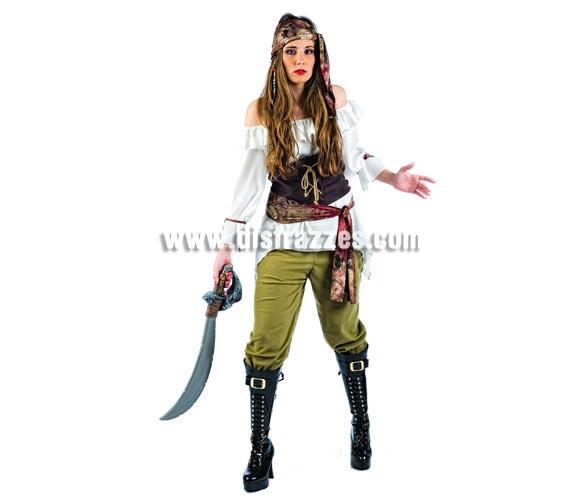 Disfraz de Pirata Saqueadora Deluxe para mujer. Alta calidad, hecho en España. Disponible en varias tallas. Incluye camisa, corpiño, pantalón, pañuelo y fajín. Espada NO incluida, podrás encontrar en nuestra sección de Complementos. Éste disfraz hace pareja con la ref. MA108LI.