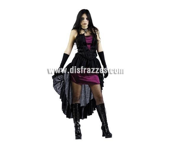 Disfraz de Vampiresa Gótica Deluxe para mujer. Alta calidad, hecho en España. Disponible en varias tallas. Incluye corpiñoy falda. Guantes y colgante NO incluidos, podrás encontrar en nuestra sección de Complementos. Éste disfraz hace pareja con la ref. MA158LI.