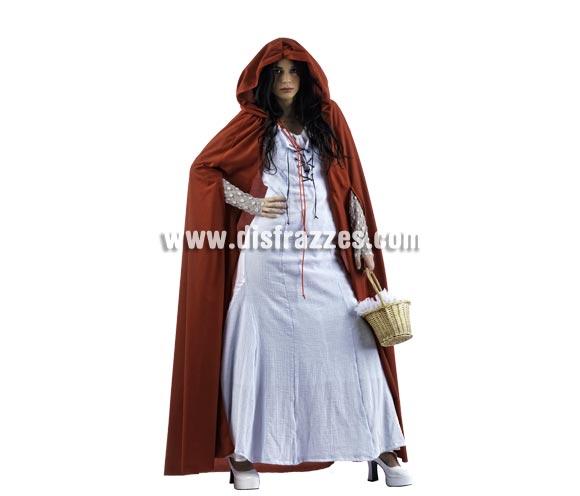 Disfraz de Caperucita Neogótica Celeste Deluxe para mujer. Alta calidad, hecho en España. Disponible en varias tallas. Incluye vestido, capa y manguitos. Cesta NO incluida.