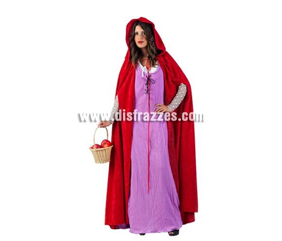 Disfraz de Caperucita Neogótica Malva Deluxe para mujer. Alta calidad, hecho en España. Disponible en varias tallas. Incluye vestido, capa y manguitos. Cesta NO incluida.