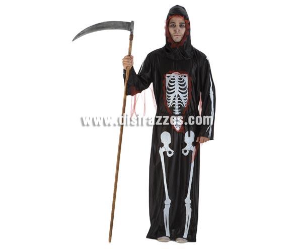 Disfraz de Muerte para hombre. Talla única de caballero. Incluye túnica, cinturón y capucha. Guadaña NO incluida, podrás verla en la sección de Complementos.