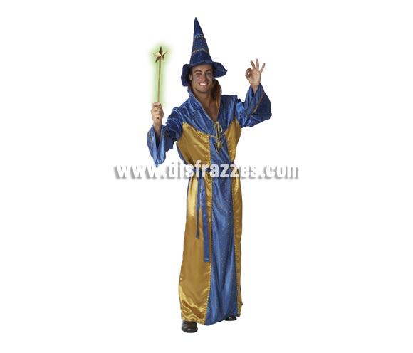 Disfraz de Mago o Brujo para hombre. Talla única de caballero. Incluye túnica, gorro y cinturón. Varita mágica NO incluida.