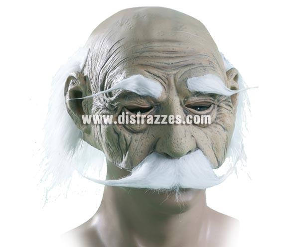 Máscara de Abuelo con bigote canoso y con pelo.