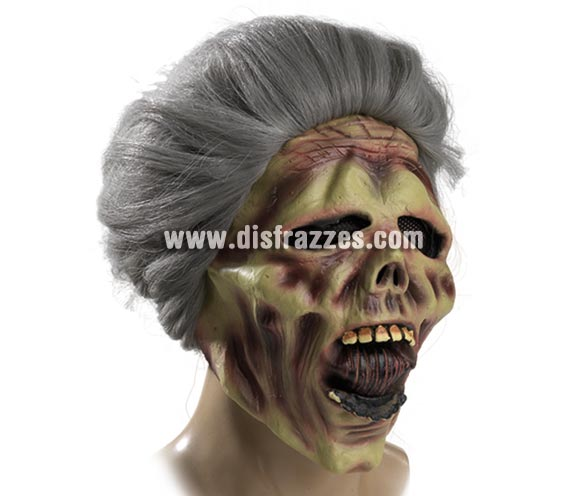Máscara de Calavera Anciana Zombie con pelo para Halloween.
