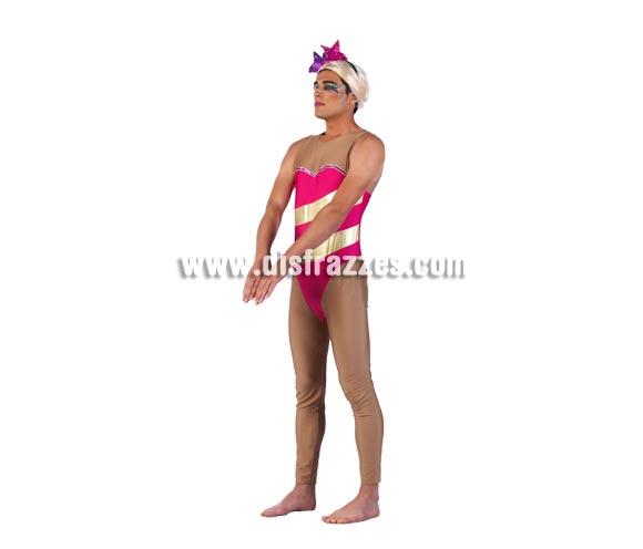 Disfraz de Olímpico Rosa Deluxe para hombre. Alta calidad, hecho en España. Disponible en varias tallas. Incluye bañador, diadema y peluca.