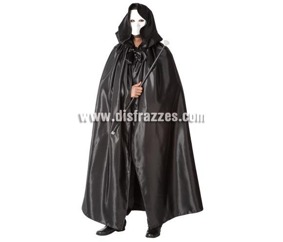 Capa negra adulto con capucha. Medida de la capa 1.50cm. Con ésta capa y una careta blanca irás disfrazado del Fantasma de la Ópera.