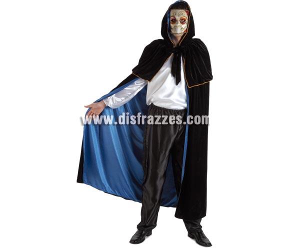 Capa negra y azul para adultos. Perfecta para disfrazarte igual que en el Carnaval de Venecia con una máscara.