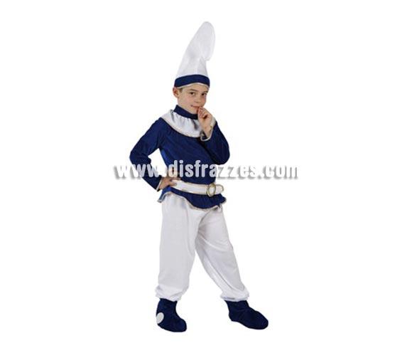 Disfraz de Enano Azul para niños de 5-6 años. Incluye gorro, camisa, pantalón, cinturón y botas. Para jugar a ser un Pitufo.