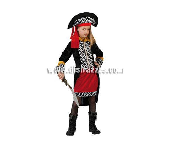Disfraz de Pirata para niñas de 7-9 Años. Incluye sombrero, chaqueta y falda. Espada y botas NO incluidas, podrás encontrar espadas en la sección de Complementos.