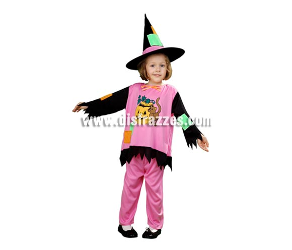 Disfraz de Bruja o Brujilla para niñas de 1 a 2 años en Halloween.