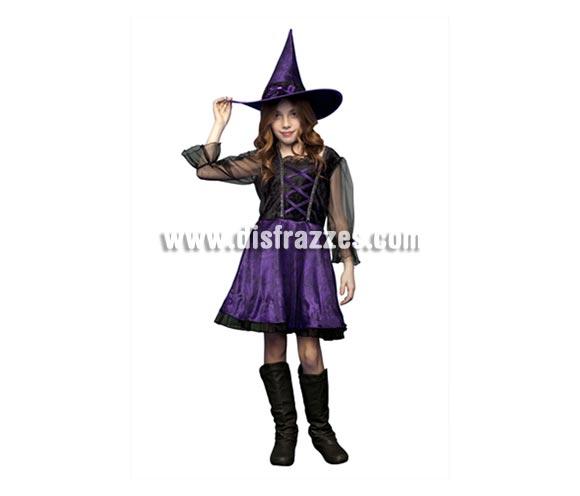 Disfraz de Bruja azul y negro vestido corto para niñas de 7 a 9 años en Halloween.