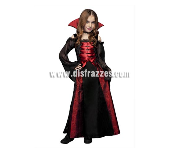 Disfraz barato de Vampiresa para nias. Talla de 7 a 9 aos. Disfraz de Vampira perfecto para Halloween.