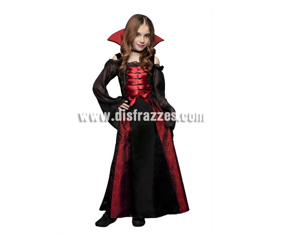 Disfraz barato de Vampiresa para niñas. Talla de 5 a 6 años. Disfraz de Vampira perfecto para Halloween.