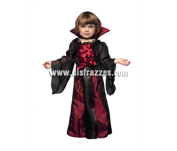 Disfraz barato de Vampiresa para niñas. Talla de 3 a 4 años. Disfraz de Vampira perfecto para Halloween.