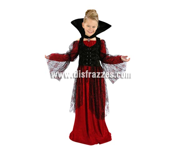 Disfraz de Vampiresa Roja talla de 7 a 9 años. Incluye vestido, chaleco y cuello.