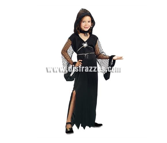 Disfraz barato de Viuda Negra para niñas de 7 a 9 años para Halloween.
