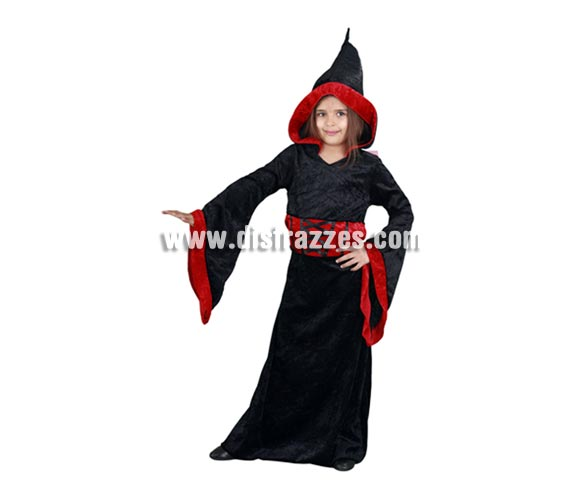 Disfraz de Sacerdotisa Maligna para niñas de 5 a 6 años para Halloween.