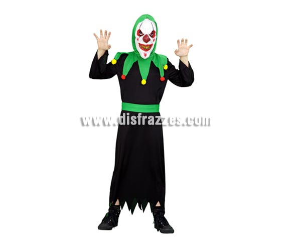 Disfraz de Payaso Diabólico para niños de 5 a 6 años para Halloween. Incluye túnica, mascara y cinturón.